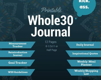 Whole30 Printable Food Journal, Meal Planner, Weight Tracker, Instant Download