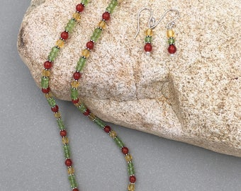 Happy Heart - gemstone and crystal necklace and earring set