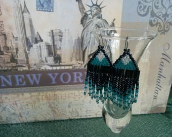 Teal and Navy Fringe Earrings