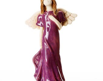 Purple Angel Statuette | Angel of Joy | Table Standing Ceramic Ornament | Quirky Handmade Figurine