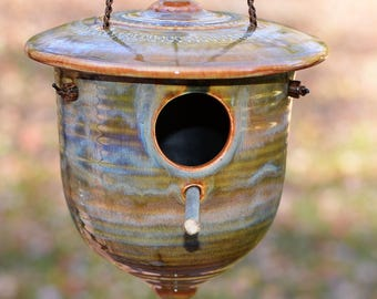 Birdhouse, pottery birdhouse, ceramic birdhouse, mother's day gift,functional garden art, wrens, nuthatches and chickadees, Whispering Pines