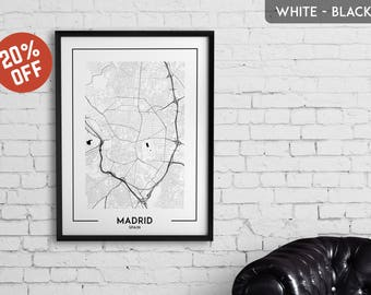 MADRID map print, Madrid poster, Madrid wall art, Madrid city map, Madrid map decor, Madrid decoration, Madrid print, Madrid gift,Madrid art