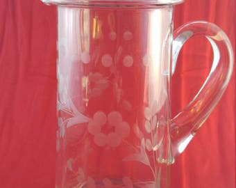 CLEARANCE Pitcher Etched Crystal Vintage  #80