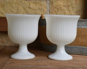 Set of Two (2) Medium Footed Milk Glass Vase, Milk Glass Compote