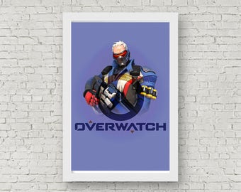 Overwatch SOLDIER 76 Poster, Game Poster, Flat Print Design, Digital Printable Poster, Blizzard wall art, Instant Download, game art