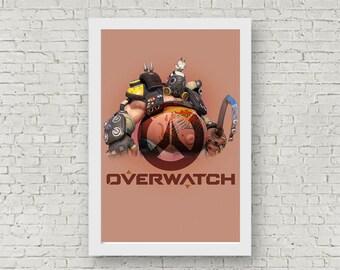 Overwatch ROADHOG Poster, Game Poster, Flat Print Design, Digital Printable Poster, Blizzard wall art, Instant Download, game art