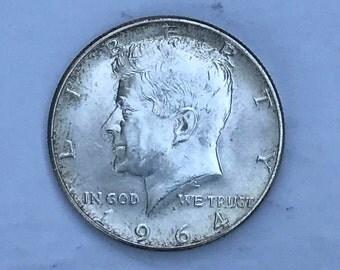 1964 Vintage JFK Silver Coin - 90% Silver Kennedy Half Dollar