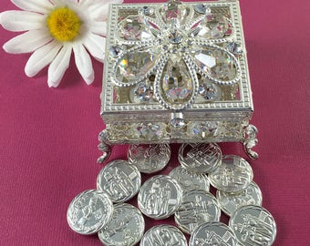 Arras de Boda  Silver Wedding Arras Box & Unity Coins