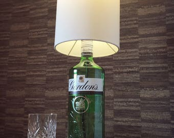 Gordon's Gin Bottle Lamp With Round Shade Upcycled 1L