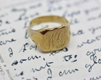 Vintage 9ct Gold Signet / Initials Ring - W.C.