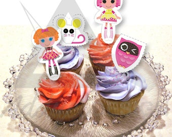 Lalaloopsy Cupcake Toppers Printable Birthday Party Decor / lalaloopsy cakes or cupcakes / Birthday party / treat bag favors / Sew cute