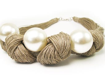 Linen, pearls , Linen cord, flax, Natural necklaces, linen thread,Natural style, Eco style, flax necklaces, Organic Necklace, Linen Necklace