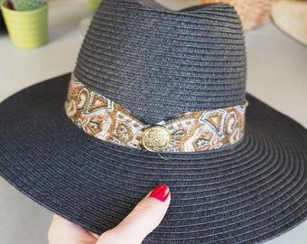Panama black swirls & scarf Hat type