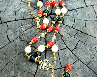 black red white beaded agate onyx coral necklace bohemian festival jewelry gift|for|her multi strand necklace natural|gift|for|women jewelry