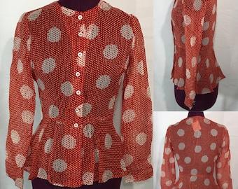 1950's | Vintage Henri Bendel | Sheer Rayon Red Blouse