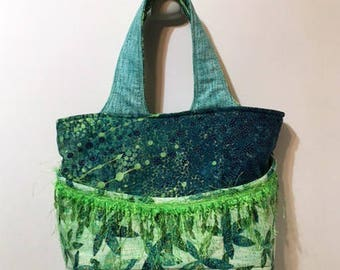 Green Purse With Fringe Trim