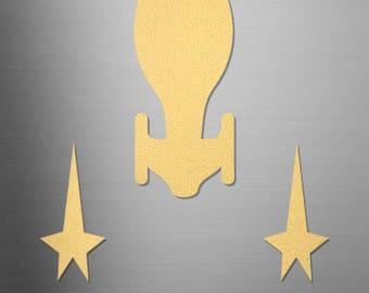 Gold Voyager Magnet   Stat Trek Voyager   Star Trek Magnet