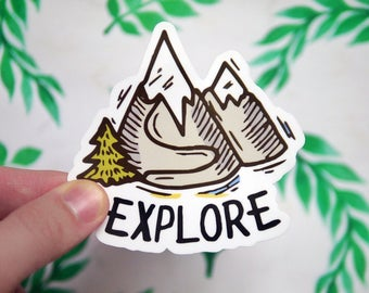 Mountains Hiking and Camping Sticker - Explore - Mountain Climbing - Notebook Stickers - Laptop Stickers Decals - Mtns Are Calling  - S97