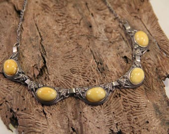 Butterscotch Amber Sterling Leaf Accent Necklace