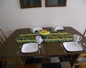Floral black and green table runner