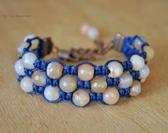 Wide shamballa bracelet with natural agate