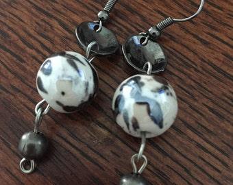 White and gunmetal glass and metal beaded earrings