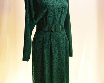Vintage 1980's Talbots Green/Black polka dot dress