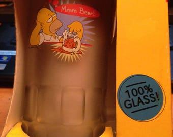 "Homer Simpson ""mmmm beer"" Glass Mug"
