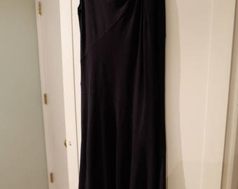 Ronen Chen Black Short-Sleeve Maxi Dress, Asymmetrical Hemline, Size 2 or 4