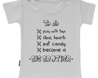 T-shirt To do: Become a big brother. Pregnancy announcement. I am big brother/sister shirt.