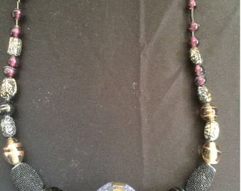 Hand made long beaded necklace