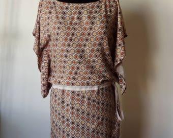 Dress kimono sleeves, beige tones, size M/L