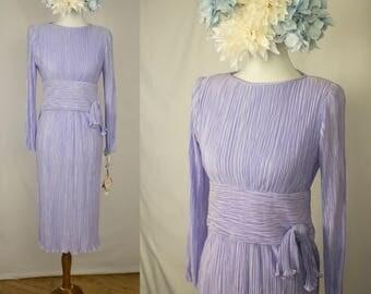 Vintage 1980s Deadstock Lavender Purple Fortuny pleats knee-length long-sleeved dress