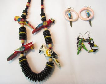 Fun Tropical Bird Wooden Hand-painted Jewelry Lot