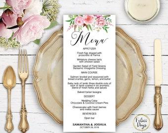Floral Wedding Menu Template, DIY Wedding Menu Template, Printable Wedding Menus, Editable Menu Template, PDF Instant Download FL460