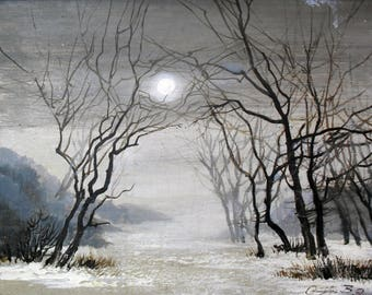 In winter. Moon, trees, forest, ice, frozen river, night