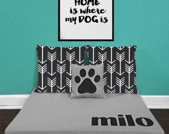 Custom Dog Bed - Elevated Raised Dog Beds - Modern Personalized Monogrammed Name Dog Beds by Ruff Trading Company