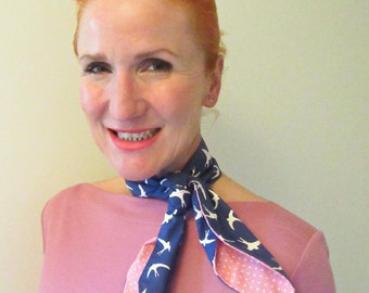 Retro inspired hairscarf, headscarf, bandana, scarf with Swallow print and Pink Polkadot. Two-sided wearable.
