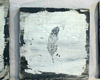 Rustic Feathers on Wood