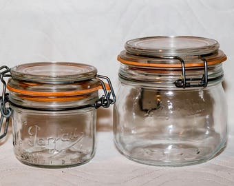 Vintage Le Parfait Wire Bail Glass Canning Jars - Lot of 2 - Made in France