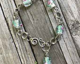 HANDCRAFTED Sterling Silver Link and Lampwork Glass Bead Bracelet