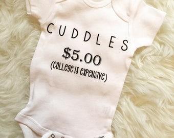 Cuddles for Cash Onesie, Funny Onesie, Baby Shower, Baby Gift, Custom Onesie