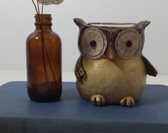Vintage owl candle holder