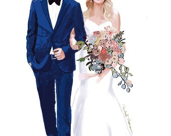 Custom Couple Bridal Illustration