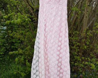 A Very Pretty Vintage 1960's Lace Full Length Dress