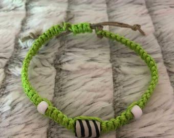 Lime green zebra bead rope & hemp bracelet
