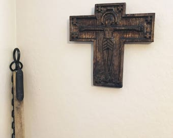Naive Hand-Carved Crucifix