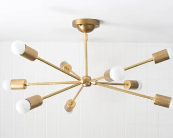 Sputnik Lamp - Brass Light Fixture - Modern Ceiling Lamp