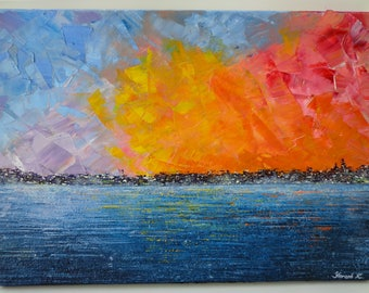 art, oil, picture, сanvas, abstraction, city, ocean, sea, oil painting, interior, painting