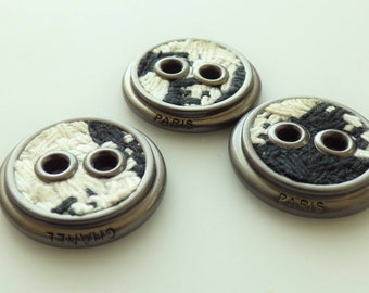 Chanel Tweed Buttons New Black and White 20mm